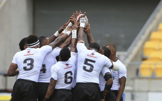 Fiji celebrate during their opening demolition of Japan at the Wellington Sevens, Saturday, 30 January, 2016. Copyright photo: John Cowpland / www.photosport.nz