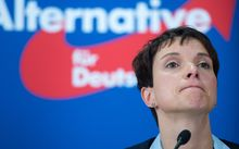 Frauke Petry, chairman of the Alternative for Germany (AfD) party at an October  2015 press conference  in Berlin.