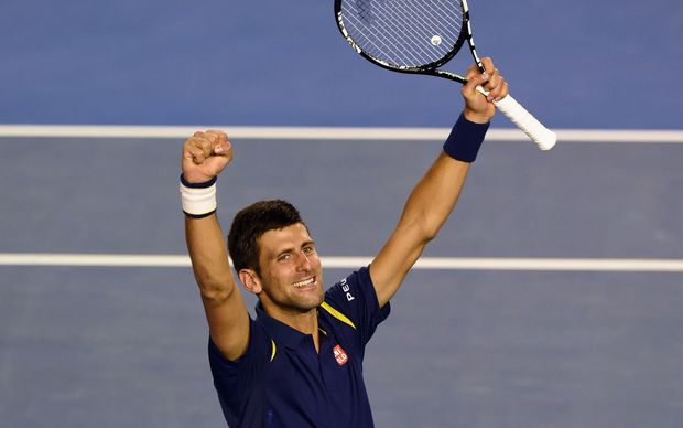 Novak Djokovic celebrating victory over Andy Murray to clinch another Australian Open title.