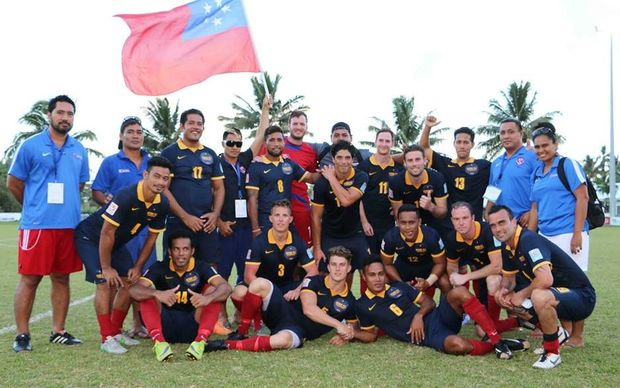 Samoa football champions Kiwi FC celebrate winning the OFC Champions League Preliminary.