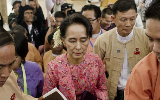 Aung San Suu Kyi arriving for the new lower house parliamentary session in Naypyidaw.