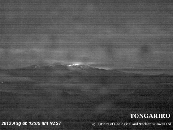 A GNS Science webcam image of Mt Tongariro at midnight on Monday night.