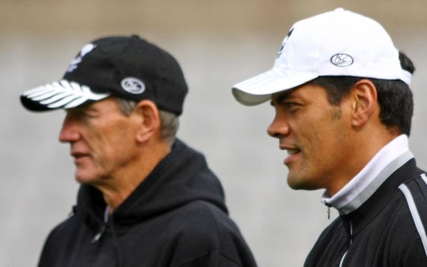 Wayne Bennett (L) in his former role as Kiwis coaching advisor with coach Stephen Kearney at the 2008 World Cup, Sydney, Australia, Tuesday 21 October 2008. Photo: Renee McKay/PHOTOSPORT
