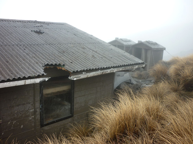 Ketetahi hut about 1.5km from the epicentre of the eruption was significantly damaged with holes in the roof, floor and bunks.