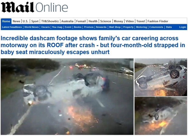 Screenshot of a typical Mail Online homepage lead story.