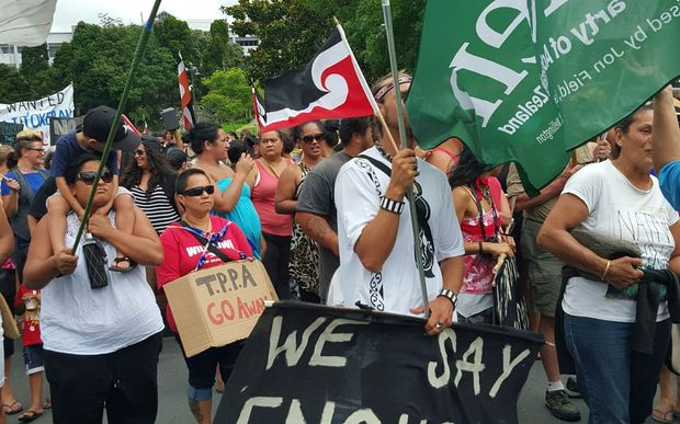 Anti-TPP marchers arrive in Whangarei on Wednesday.