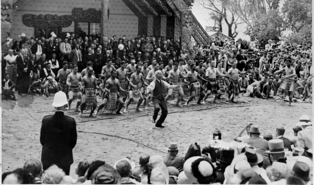 Crowd watching Apirana Turapa Ngata leading the haka at the centennial celebrations at Waitangi in 1940.