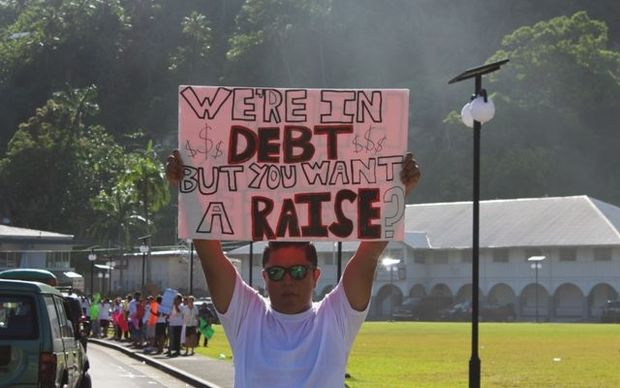 A protest in American Samoa against bill to increase salaries of legislators.