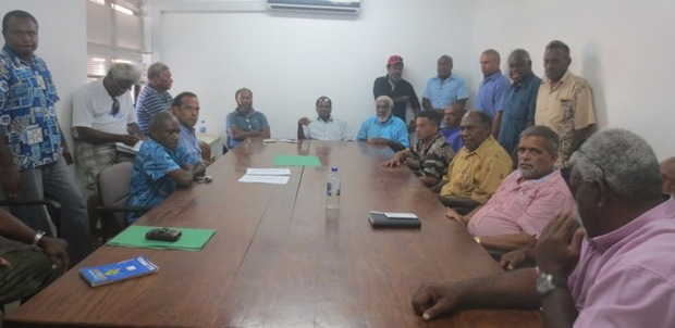 Representatives of Vanuatu's leading political parties including Vanua'aku Pati, the Graon Mo Jastis Pati, the Union for Moderates, the National United Party and the Reunification of Movements for Change.