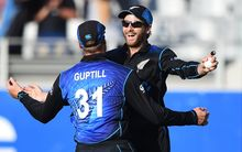 Kane Williamson celebrates a catch during the first ODI against Australia.
