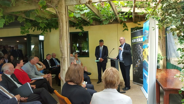 Steven Joyce announces government funding for the Hundertwasser Art Centre, at an event launching the Tai Tokerau Northland Economic Action Plan at the Marsden Estate winery in Kerikeri on 4 February 2016..