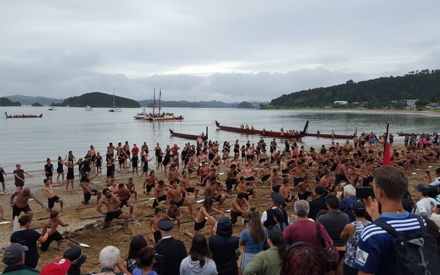 More than 100 paddlers performed a haka to commemorate the signing of the treaty
