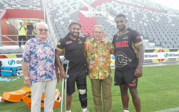 PNG Sports Minister Justin Tkatchenko with Penrith's Wellington and Stanton Albert.