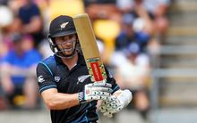 Kane Williamson batting for New Zealand in the second Chappell-Hadlee Series match in Wellington, Saturday 6th February 2016. Copyright Photo.: Grant Down / www.photosport.nz