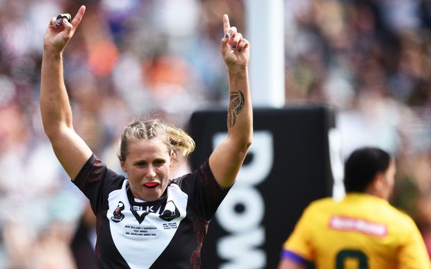 Tasha Davies celebrates her try for the Kiwi Ferns Nines against Australia at the Auckland NRL Nines at Eden Park, Sunday 7 February 2016. Copyright photo: Andrew Cornaga / www.photosport.nz
