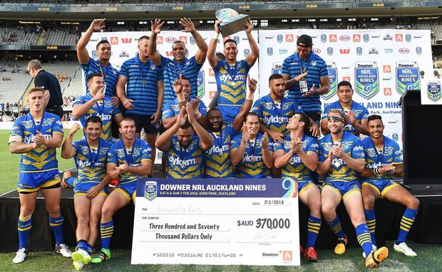 The Parramatta Eels celebrate their win over the New Zealand Warriors in the Auckland NRL Nines final at Eden Park in Auckland, New Zealand. Sunday 7 February 2016. Copyright photo: Andrew Cornaga / www.photosport.nz