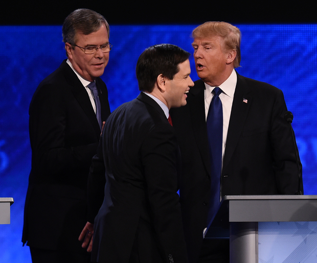 Republican presidential candidates, from left, Jeb Bush, Marco Rubio and Donald Trump after the debate.