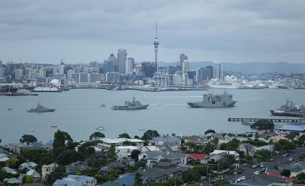 The HMNZS Canterbury and Te Mana frigates seen in Auckland harbour.