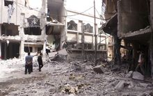 Syrian regime forces stage an airstrike in Douma district of Damascus.