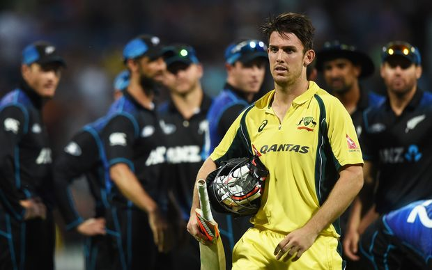 Australian Mitchell Marsh dismissed in Hamilton 2016.