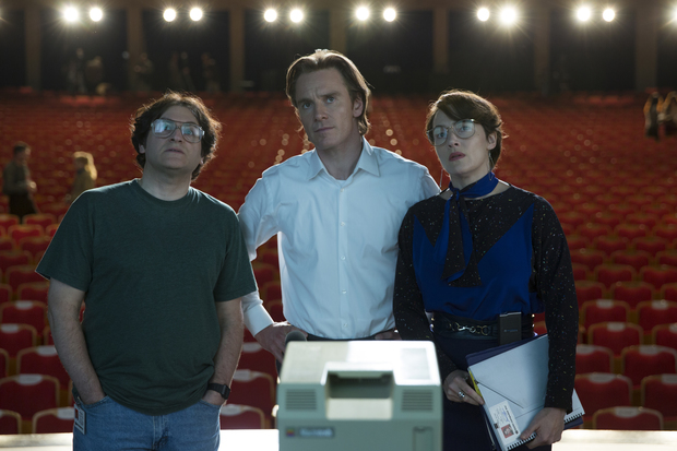 Andy Hertzfeld (Michael Stuhlbarg), Steve Jobs (Michael Fassbender) and Joanna Hoffman (Kate Winslet) prepare for the launch of the Macintosh in Steve Jobs