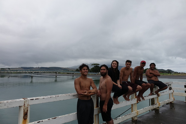 from left Reiki Ruawai, Kaleb Kingi, Tatijana Keefe, Jahvik Ware, Kaedyn Barber, and Mason Tuakiri with Te Kopua footbridge in background.