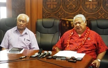 Samoa's caretaker Prime Minister, Tuilaepa Sailele Malielegaoi and his Minister of Health, Tuitama Talalelei Tuitama, speaking to the media on the Zika virus