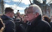 Bernie Sanders on walkabout in Concord, New Hampshire