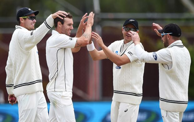 Fast bowler Tim Southee (far left) says the Black Caps need to stamp their authority on the Australians early on in the test,
