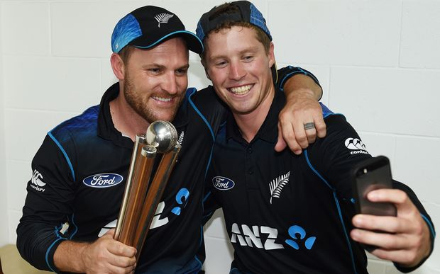 Black Caps captain Brendon McCullum and Henry Nicholls after the Chappell-Hadlee series win.