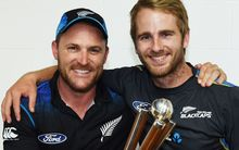 Brendon McCullum and his successor as Black Caps captain Kane Williamson (right).