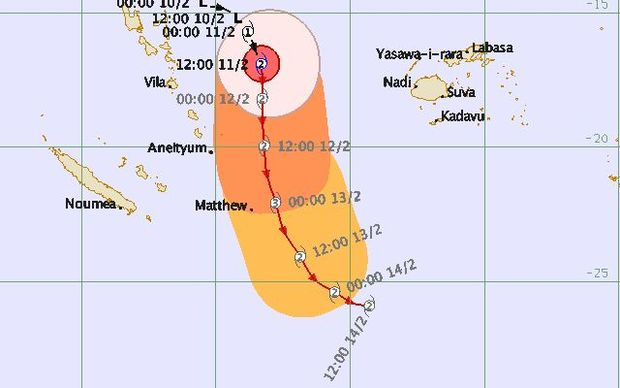 Track map for cyclone Winston