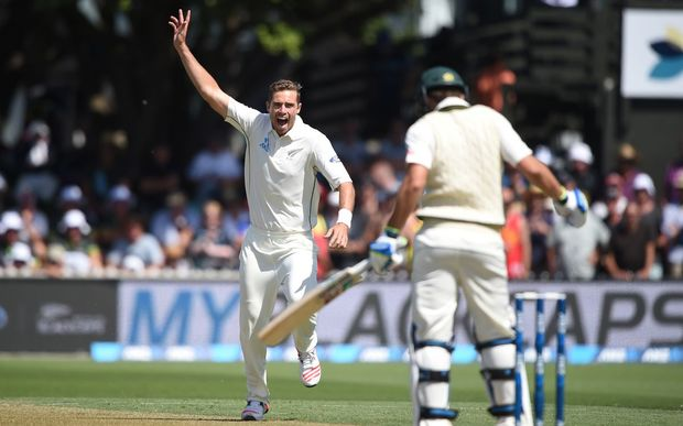 Tim Southee appeals successfully for the wicket of Joe Burns on day one of the first Test at the Basin Reserve, Wellington, Friday 12 February 2016. Copyright photo: Andrew Cornaga / www.photosport.nz