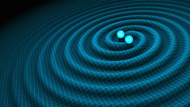 An artist's impression of gravitational waves generated by colliding space objects, in this case binary neutron stars.