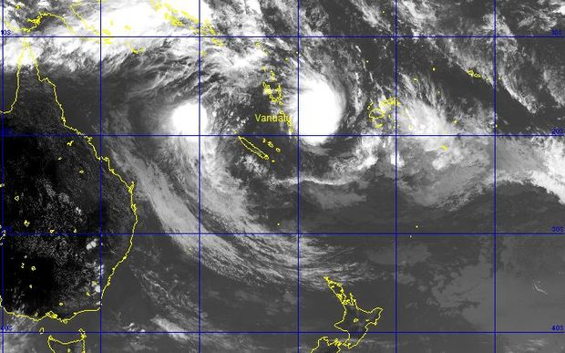 A satellite image of cyclone Winston, to the right of Vanuatu, and cyclone Tatiana, to the left, northwest of New Caledonia.