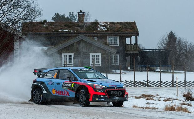 Hayden Paddon in action at WRC Sweden