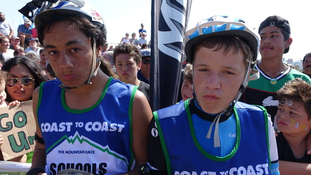 Taitama Tukaki and Bryce Adamson at the finish of the Coast to Coast race.