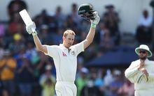 Adam Voges celebrates his century against New Zealand at the Basin Reserve in Wellington.