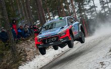 Hayden Paddon gets some air at WRC Sweden