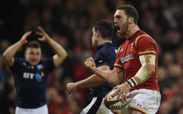 Wales wing George North celebrates a try in the Six Nations match against Scotland at the Principality Stadium in Cardiff, south Wales, on February 13, 2016