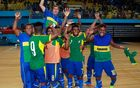 The Solomon Islands Futsal team celebrate the 5-0 victory over Fiji and a 2016 OFC Championship.