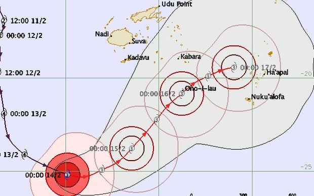 Forecast track for Cyclone Winston.