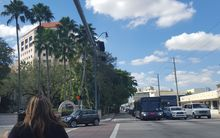 A busy intersection in downtown Miami.