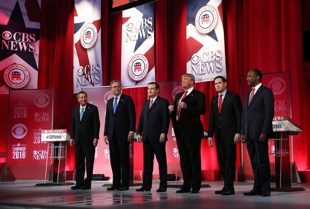 Republican presidential candidates (L-R) Ohio Governor John Kasich, Jeb Bush, Sen. Ted Cruz (R-TX), Donald Trump, Sen. Marco Rubio (R-FL) and Ben Carson at a debate in South Carolina.