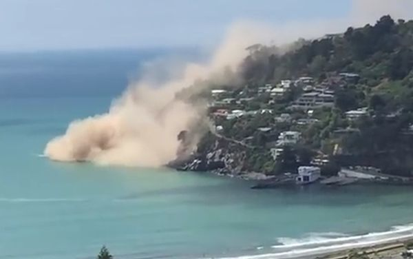 Screenshot of video of cliff collapse, Sumner/