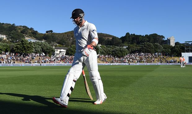 Brendon McCullum leaves the Basin Reserve after his final test innings in Wellington.
