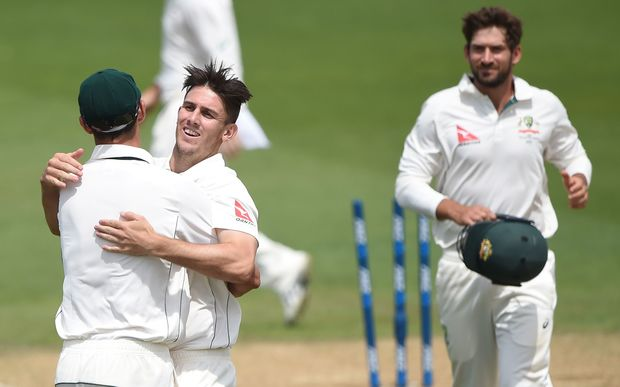 Australian bowler Mitchell Marsh celebrates taken the final New Zealand wicket to win the first test.