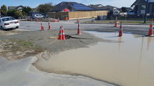 Liquefaction in Bower Ave after yesterday's quake.