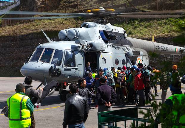 Post Earthquake Nepal - Indian nationals frantically attempting to get on the Indian Airforce relief helicopter