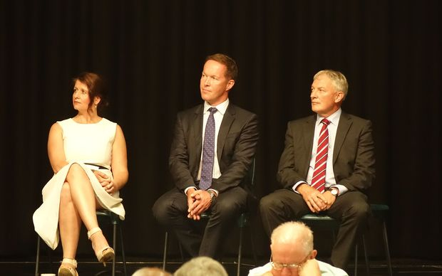 Leading mayoral contenders, from left, Victoria Crone, Mark Thomas and Phil Goff on stage together for the first time.